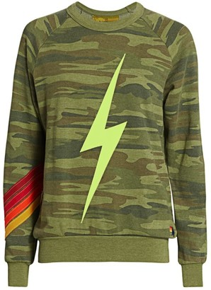 Aviator Nation Camo Bolt Stitch Chevron Sweatshirt