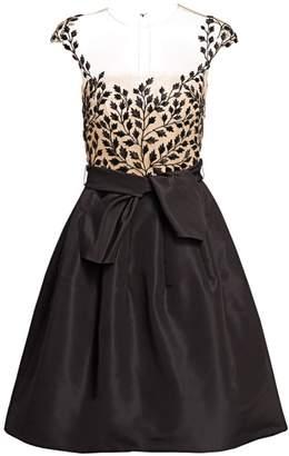Oscar de la Renta Sheer-Bodice Fit-&-Flare Dress