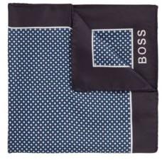 HUGO BOSS Printed Pocket Square In Water Repellent Silk - Dark Blue