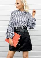 Ever New Alison Black Gingham Print Puff Sleeve Top