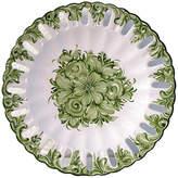 One Kings Lane Vintage Portuguese Floral Serving Plate - Osprey Blu - white/green