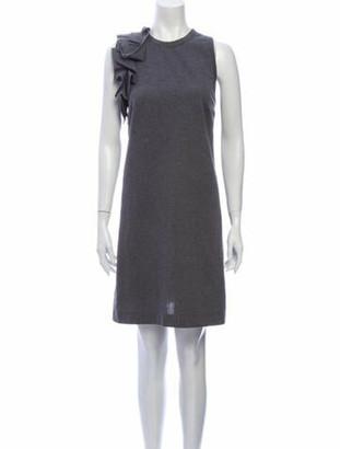 Brunello Cucinelli Crew Neck Mini Dress Grey