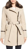 Via Spiga Women's Detachable Faux Fur Collar Belted Soft Shell Coat