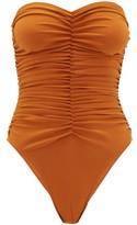 Norma Kamali Slinky Marissa Ruched Bandeau Swimsuit - Womens - Bronze