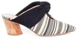 Bernardo Finley Mule Black Suede and Striped Raffia