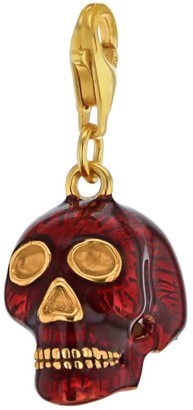 Red Enamel & 18 Carat Gold Plated Small Skull Charm