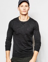 Tommy Hilfiger Denim Jumper With Crew Neck In Black Marl