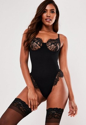 Missguided Petite Black Sheer Stripe Lace Babydoll