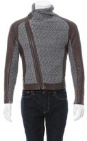 Emporio Armani Leather-Accented Wool-Blend Jacket