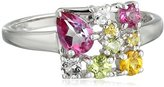 Kenneth Jay Lane Fine Jewelry Sterling Silver, Topaz, Yellow Sapphire, and Peridot Square Ring, Size 7