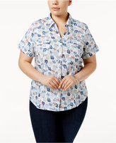 Karen Scott Plus Size Cotton Printed Shirt, Created for Macy's