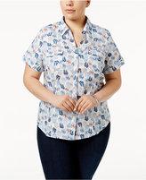 Karen Scott Plus Size Cotton Printed Shirt, Only at Macy's