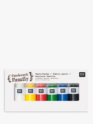 Rico Design Fabric Paint, Pack of 6, Bright