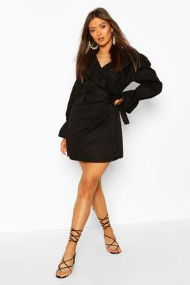 boohoo Cotton Ruffle Detail Wrap Dress