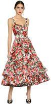 Dolce & Gabbana Roses Printed Cotton Poplin Midi Dress