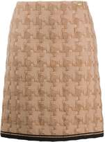Chanel Pre Owned houndstooth straight-fit skirt