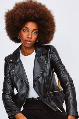 Karen Millen Leather Signature Biker Jacket