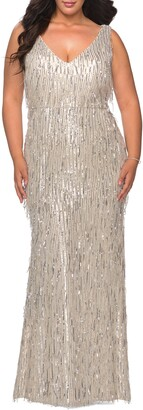 La Femme Sequin Trumpet Gown