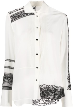 Ermanno Scervino Long-Sleeved Lace Trim Shirt