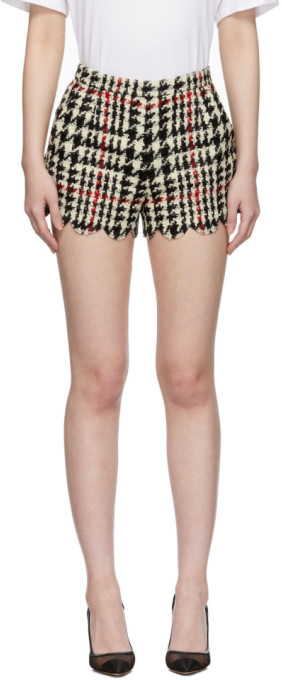 RED Valentino Black Houndstooth Shorts