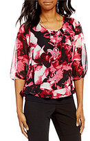 I.N. Studio 3/4 Sleeve Rose Print Popover Top