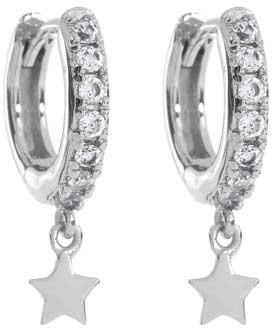 Mint Velvet Silver Pave Star Hoop Earrings