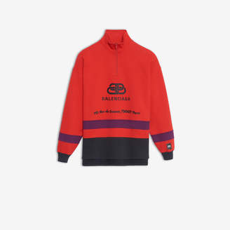 Balenciaga BB Address Ski Sweater in red, purple and washed black embroidered fleece