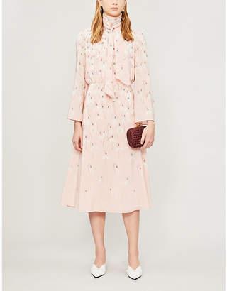 Valentino Tied-neck floral-print silk-crepe midi dress