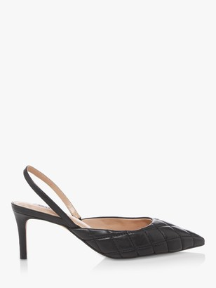 Dune Cammie Leather Quilted Slingback Heels