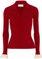 Esteban Cortazar Ribbed Stretch-knit Sweater - Claret