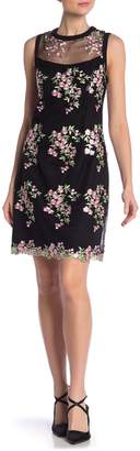 Nanette Lepore Sleeveless Floral Embroidery Mesh Sheath Dress