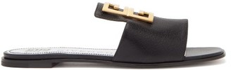 Givenchy 4g Logo Leather Slides - Womens - Black
