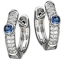 Meira T Women's 14K White Gold, Diamond & Blue Sapphire Huggie Hoop Earrings