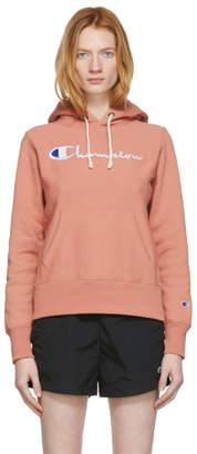 Champion Reverse Weave Pink Script Logo Hoodie