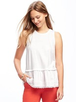 Old Navy Relaxed Peplum-Lace-Hem Tank for Women