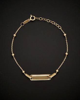 Italian Gold 14K Station Bead Adjustable Baby Id Bracelet
