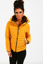 Pink Boutique Sweet Chic Mustard Quilted Puffer Coat