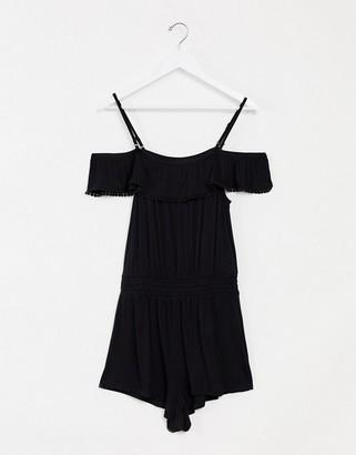 Pour Moi? Pour Moi Escape Removable Straps Off the Shoulder Playsuit in Black