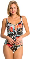 Penbrooke Pattern Sense Shirred Front One Piece Swimsuit 8136149