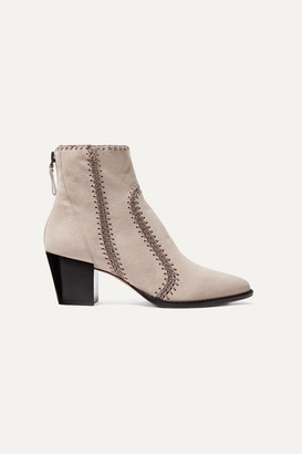 Alexandre Birman Benta Whipstitched Suede Ankle Boots - Beige