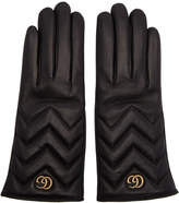 Gucci Black GG Marmont Chevron Gloves