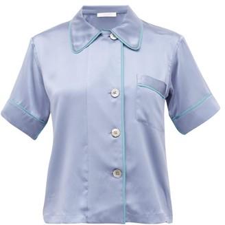 Araks Shelby Piped Silk Pyjama Shirt - Womens - Blue