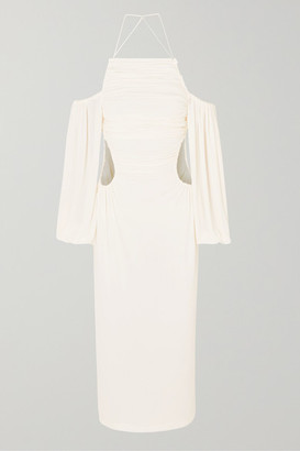 Dion Lee Ruched Cutout Jersey Midi Dress - Ivory