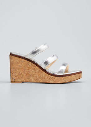Jimmy Choo Athenia Metallic Three-Band Cork Wedge Sandals