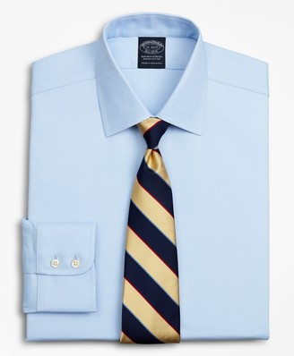 Brooks Brothers Stretch Big & Tall Dress Shirt, Non-Iron Royal Oxford Ainsley Collar