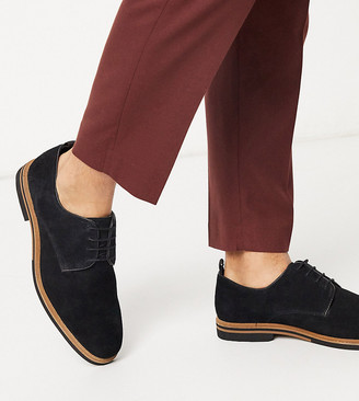 ASOS DESIGN Wide Fit lace up shoes in black suede with contrast sole