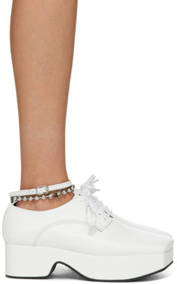 Flat Apartment White Ankle Strap Platform Oxfords