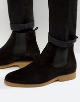 Zign Shoes Suede Crepe Sole Chelsea Boots