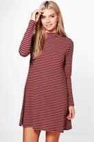 Boohoo Jenny High Neck Stripe Rib Swing Dress