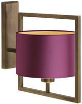 Heathfield & Co Conniston Wall Light Antique Brass With Plum Silk Shade
